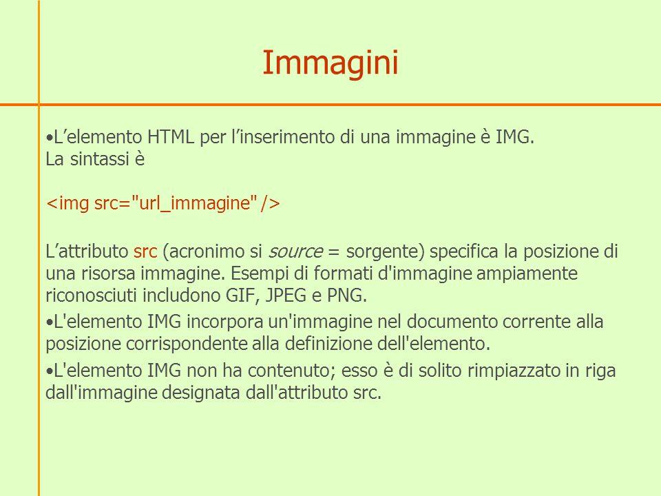 Immagini Lelemento HTML per linserimento di una immagine è IMG.