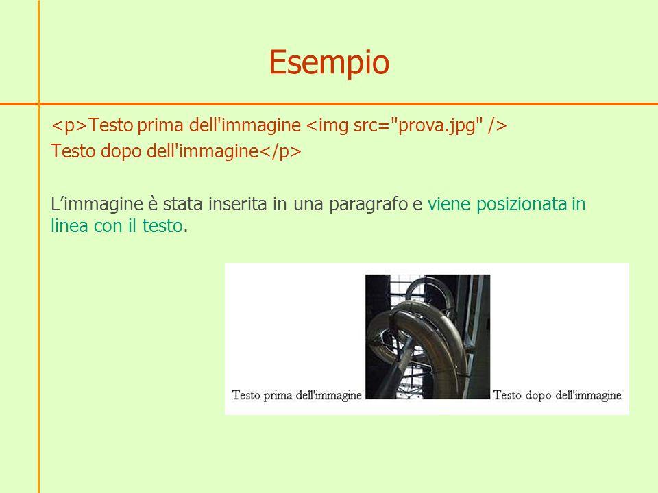Esempio Testo prima dell immagine Testo dopo dell immagine Limmagine è stata inserita in una paragrafo e viene posizionata in linea con il testo.