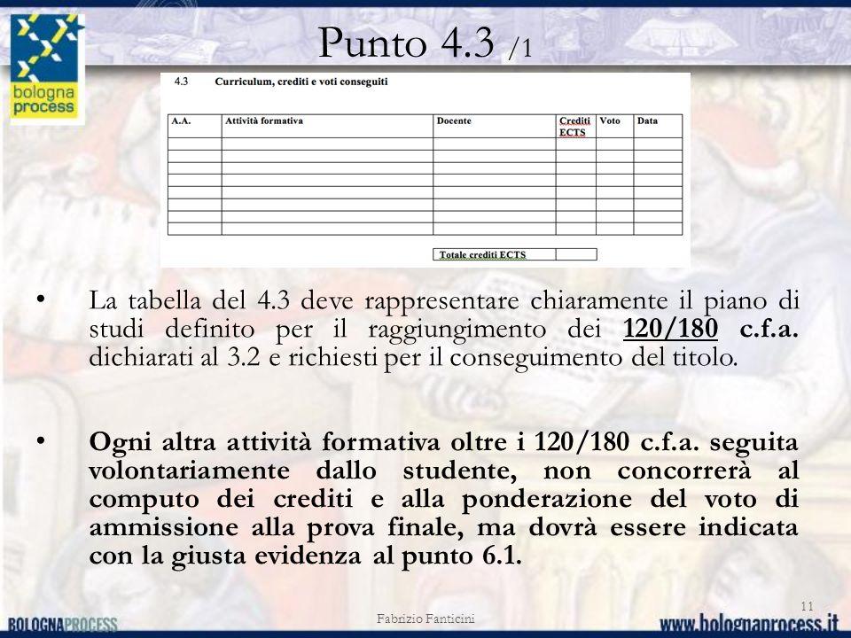 Punto 4.3 /1 Fabrizio Fanticini 11 La tabella del 4.3 deve rappresentare chiaramente il piano di studi definito per il raggiungimento dei 120/180 c.f.a.