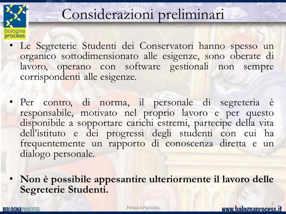 Considerazioni preliminari Le Segreterie Studenti dei Conservatori hanno spesso un organico sottodimensionato alle esigenze, sono oberate di lavoro, operano con software gestionali non sempre corrispondenti alle esigenze.