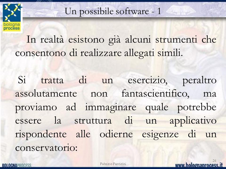 Un possibile software - 1 Fabrizio Fanticini 26 In realtà esistono già alcuni strumenti che consentono di realizzare allegati simili.