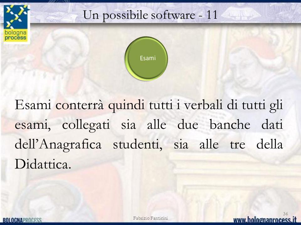Un possibile software - 11 Fabrizio Fanticini 36 Esami conterrà quindi tutti i verbali di tutti gli esami, collegati sia alle due banche dati dellAnagrafica studenti, sia alle tre della Didattica.