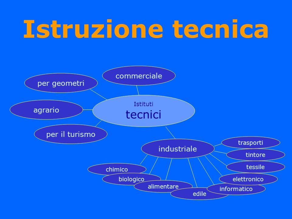 Istruzione tecnica Istituti tecnici commercialeper geometriagrario per il turismo industriale chimico biologico alimentare edile informatico elettroni