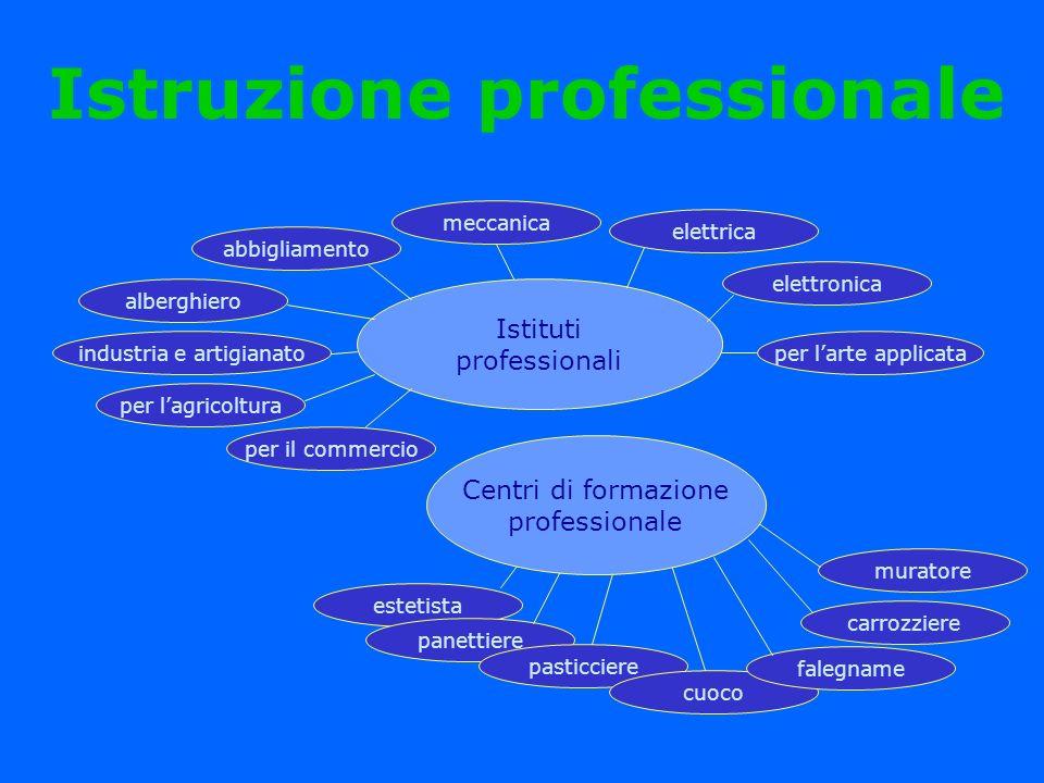 Istruzione professionale Istituti professionali estetista panettiere pasticciere cuoco falegname carrozziere muratore Centri di formazione professiona
