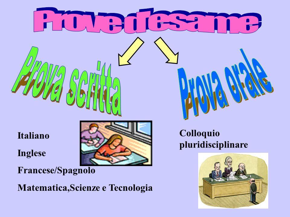 Italiano Inglese Francese/Spagnolo Matematica,Scienze e Tecnologia Colloquio pluridisciplinare