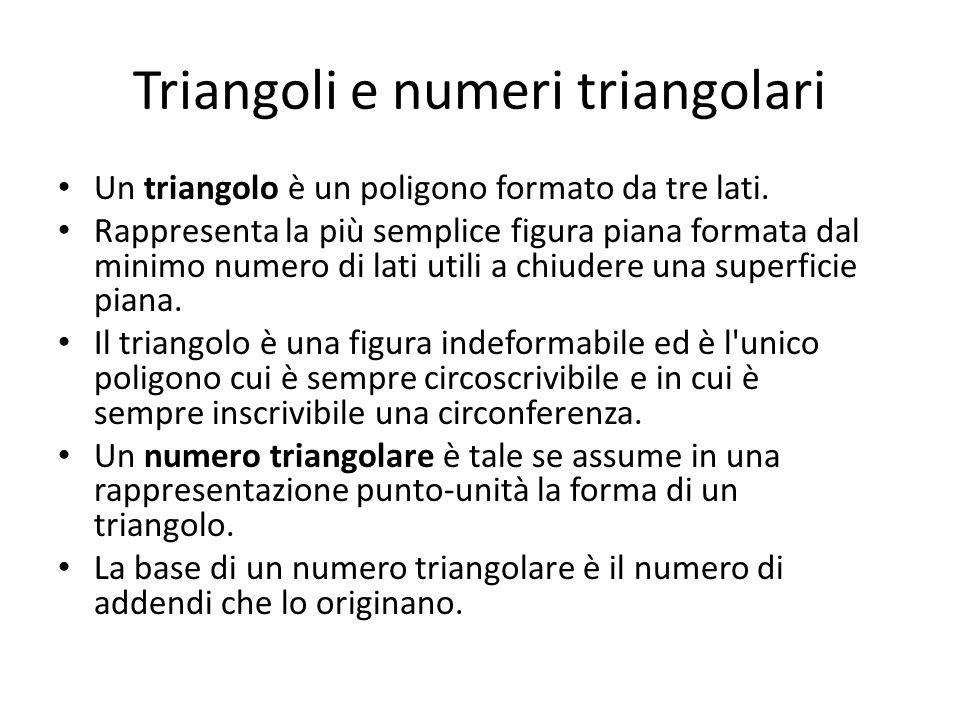 Il primo e il secondo numero triangolare Il primo numero triangolare è 1.