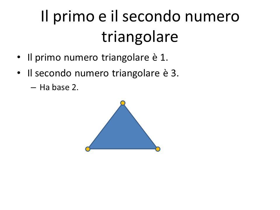Il terzo numero triangolare Il terzo numero triangolare è 6. Ha base 3