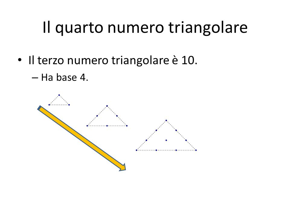 Il quinto numero triangolare Il quinto numero triangolare è …. Ha base …. mettiti alla prova…