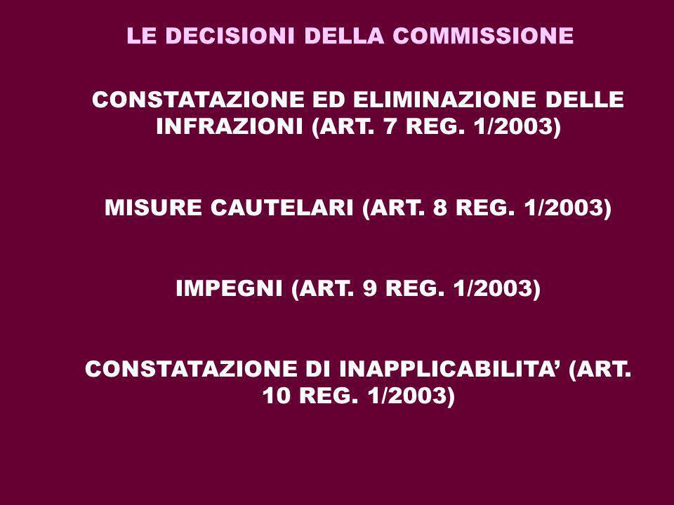 LE DECISIONI DELLA COMMISSIONE CONSTATAZIONE ED ELIMINAZIONE DELLE INFRAZIONI (ART. 7 REG. 1/2003) MISURE CAUTELARI (ART. 8 REG. 1/2003) IMPEGNI (ART.