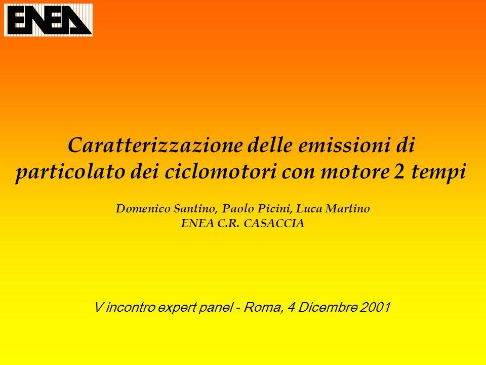 Caratterizzazione delle emissioni di particolato dei ciclomotori con motore 2 tempi Domenico Santino, Paolo Picini, Luca Martino ENEA C.R. CASACCIA V