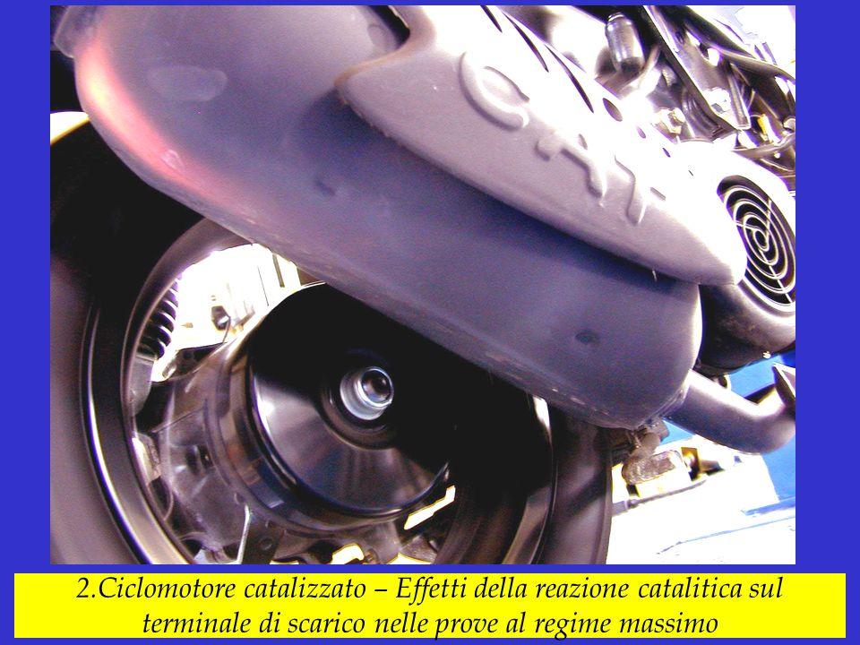 2.Ciclomotore catalizzato – Effetti della reazione catalitica sul terminale di scarico nelle prove al regime massimo