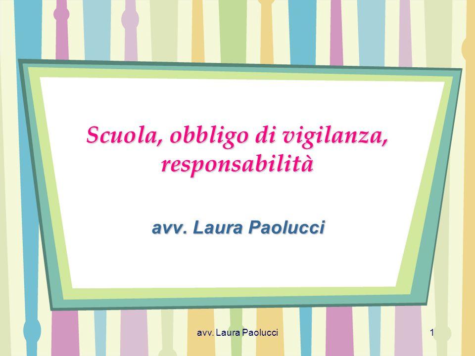 avv. Laura Paolucci1 Scuola, obbligo di vigilanza, responsabilità avv. Laura Paolucci