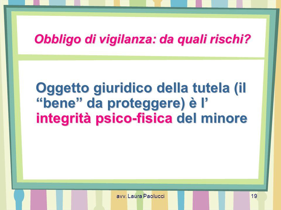 avv.Laura Paolucci19 Obbligo di vigilanza: da quali rischi.