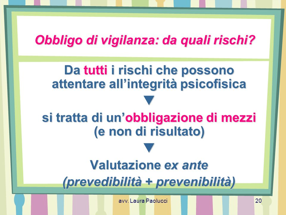 avv.Laura Paolucci20 Obbligo di vigilanza: da quali rischi.