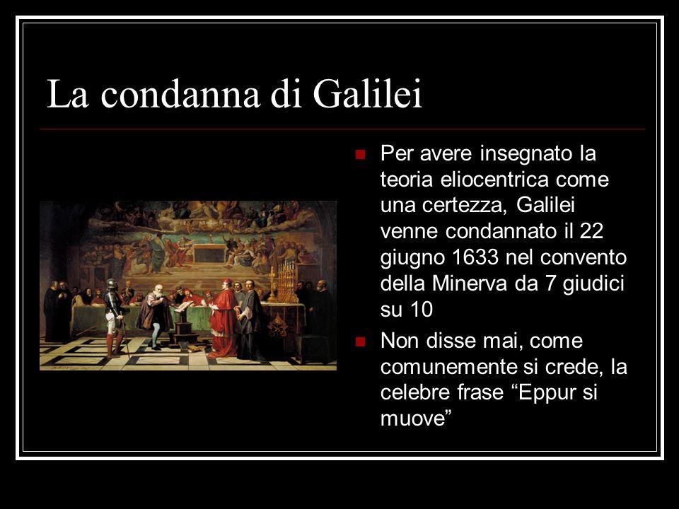 La condanna di Galilei Per avere insegnato la teoria eliocentrica come una certezza, Galilei venne condannato il 22 giugno 1633 nel convento della Min