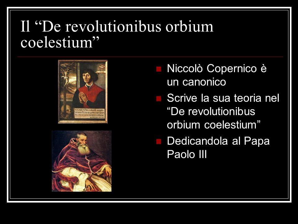 Il De revolutionibus orbium coelestium Niccolò Copernico è un canonico Scrive la sua teoria nel De revolutionibus orbium coelestium Dedicandola al Pap