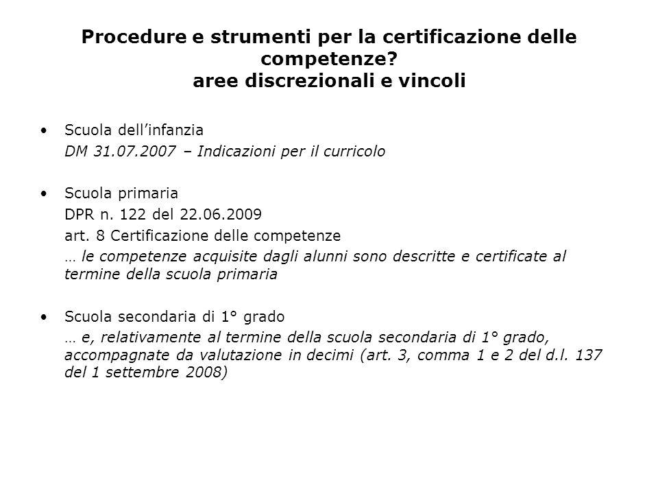 Procedure e strumenti per la certificazione delle competenze? aree discrezionali e vincoli Scuola dellinfanzia DM 31.07.2007 – Indicazioni per il curr