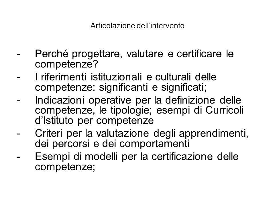 Articolazione dellintervento -Perché progettare, valutare e certificare le competenze? -I riferimenti istituzionali e culturali delle competenze: sign