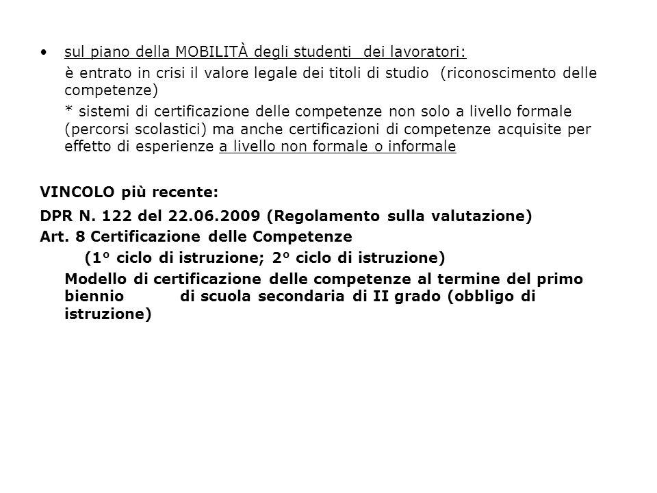sul piano della MOBILITÀ degli studenti dei lavoratori: è entrato in crisi il valore legale dei titoli di studio (riconoscimento delle competenze) * s
