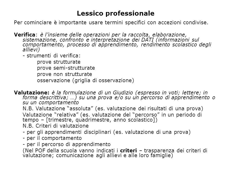 Lessico professionale Per cominciare è importante usare termini specifici con accezioni condivise.