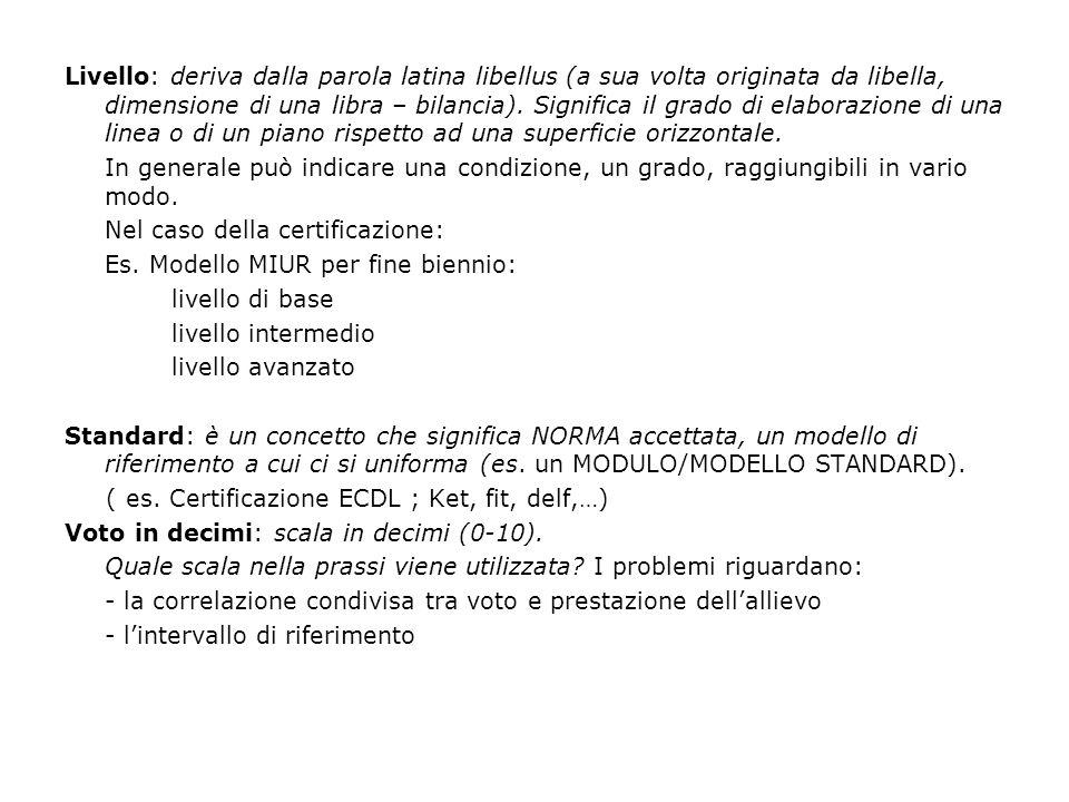 Definizioni di competenza Raccomandazione del Parlamento europeo e del Consiglio del 7 settembre 2006.