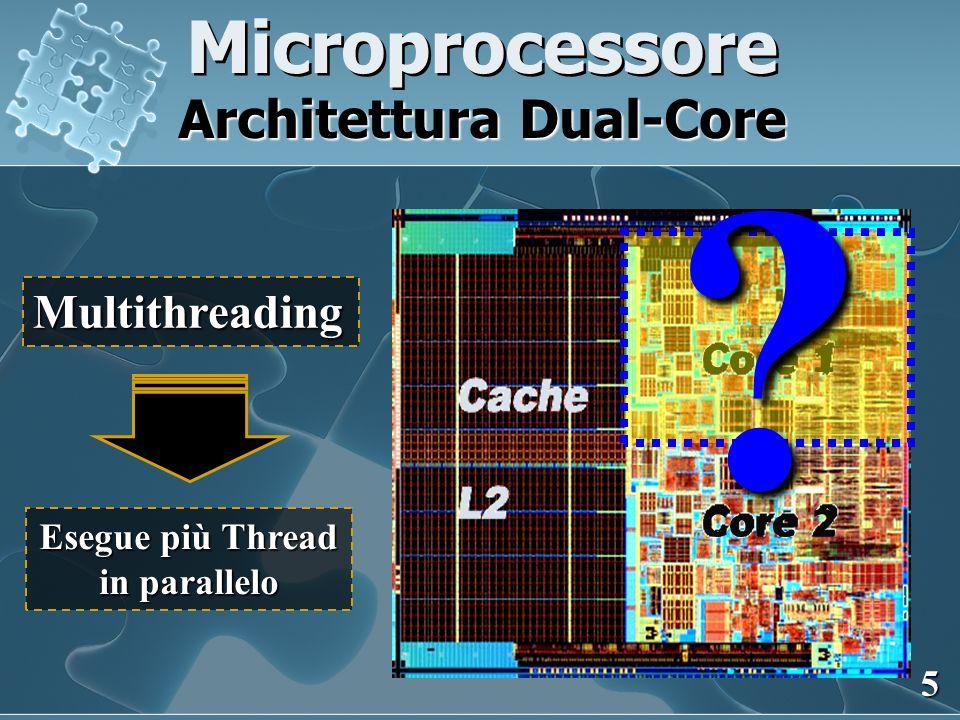 Microprocessore Architettura Dual-Core Core 1 Core 2 ? Multithreading Esegue più Thread in parallelo ? 5