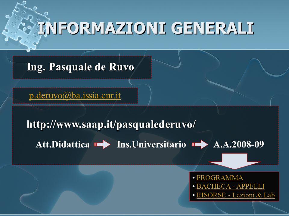 INFORMAZIONI GENERALI http://www.saap.it/pasqualederuvo/ Att.DidatticaIns.UniversitarioA.A.2008-09 p.deruvo@ba.issia.cnr.it Ing. Pasquale de Ruvo PROG