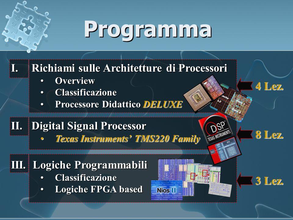 Programma I. Richiami sulle Architetture di Processori OverviewOverview ClassificazioneClassificazione Processore Didattico DELUXEProcessore Didattico