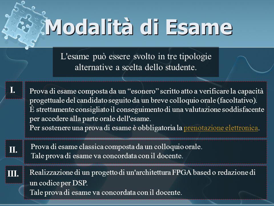 Modalità di Esame L'esame può essere svolto in tre tipologie alternative a scelta dello studente. Prova di esame composta da un esonero scritto atto a