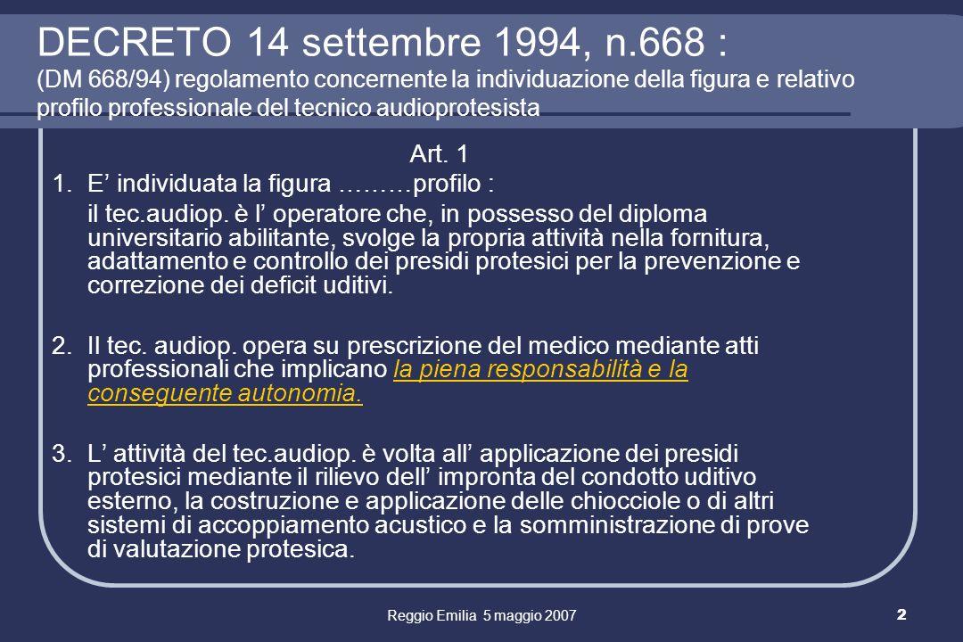 Reggio Emilia 5 maggio 20073 Responsabilità ed Autonomia del TA (DM 668/94) Capacità tecniche (competenza nella scelta degli AA, nell esecuzione del fitting e nella somministrazione dei tests di verifiche funzionali) Capacità di capire i problemi del soggetto e proporre soluzioni reali ( fissare obiettivi ed impostare un programma ) Capacità di counseling gestione delle aspettative del paziente che devono essere adeguate al caso ( problematiche della sordità in relazione alle esigenze della persona ) sgombrando il campo dal sogno delludito normale ecc.