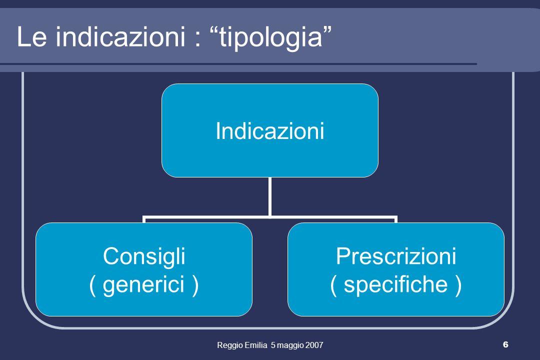 Reggio Emilia 5 maggio 20076 Le indicazioni : tipologia Indicazioni Consigli ( generici ) Prescrizioni ( specifiche )