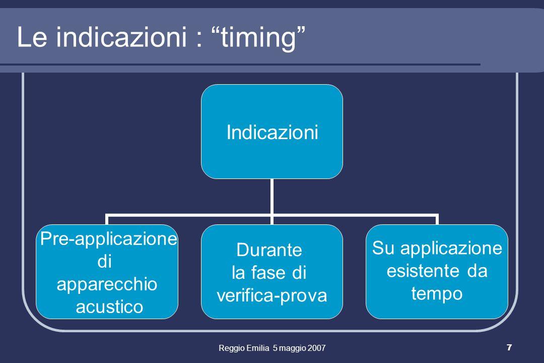 Reggio Emilia 5 maggio 20077 Le indicazioni : timing Indicazioni Pre-applicazione di apparecchio acustico Durante la fase di verifica-prova Su applicazione esistente da tempo