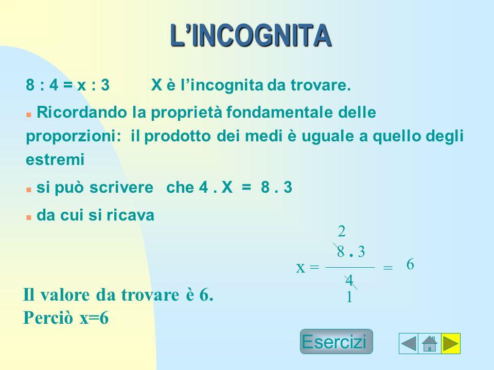LINCOGNITA 8 : 4 = x : 3 X è lincognita da trovare.