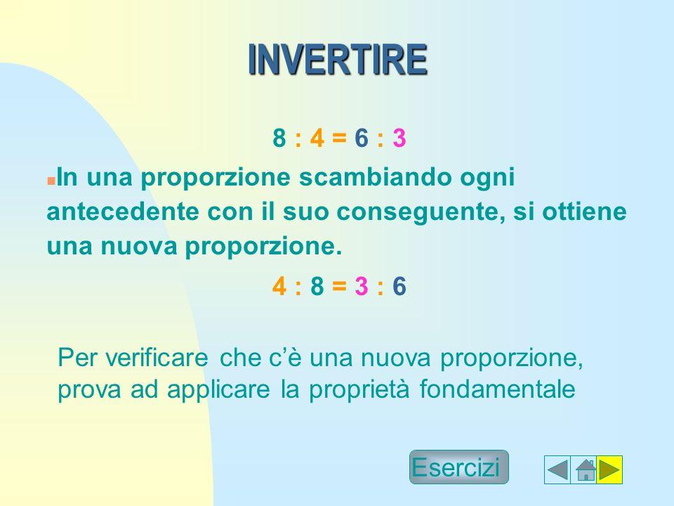 INVERTIRE INVERTIRE 8 : 4 = 6 : 3 n In una proporzione scambiando ogni antecedente con il suo conseguente, si ottiene una nuova proporzione.