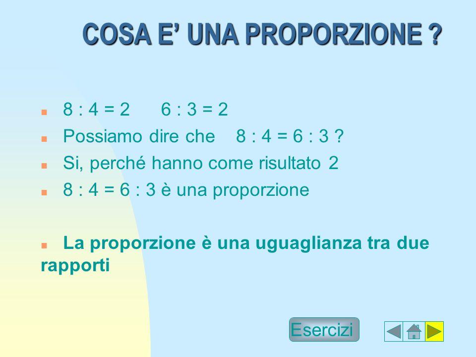 COSA E UNA PROPORZIONE .n 8 : 4 = 2 6 : 3 = 2 n Possiamo dire che 8 : 4 = 6 : 3 .