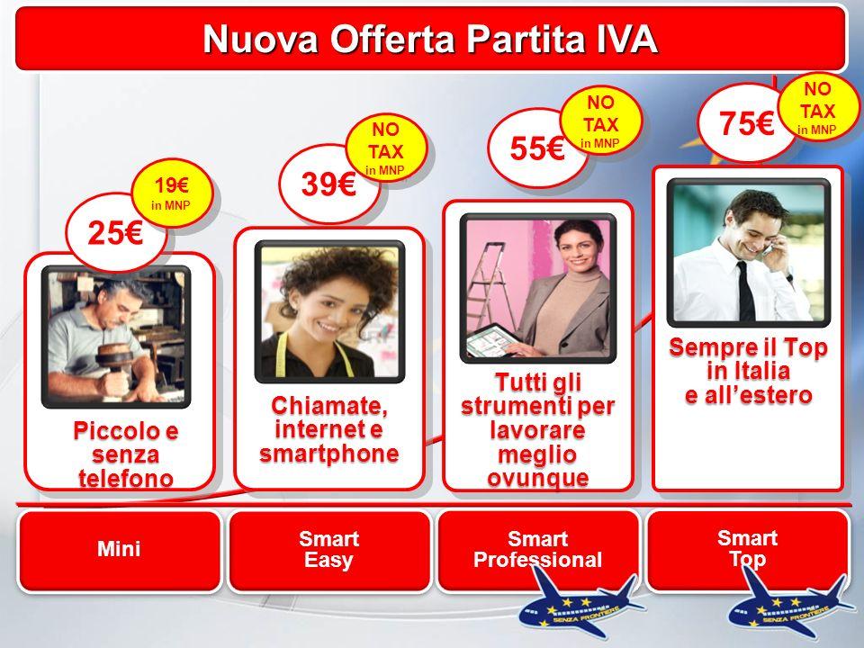 Il Portafoglio Partita IVA Nuova Offerta Partita IVA 75 Smart Top NO TAX in MNP Sempre il Top in Italia e allestero Smart Professional 55 NO TAX in MNP Tutti gli strumenti per lavorare meglio ovunque 39 Smart Easy NO TAX in MNP Chiamate, internet e smartphone Mini Piccolo e senza telefono 25 19 in MNP