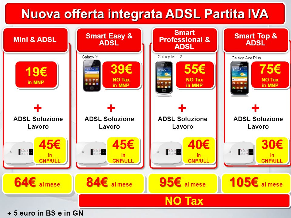 Nuova offerta integrata ADSL Partita IVA Mini & ADSL Smart Easy & ADSL Smart Professional & ADSL Smart Top & ADSL Galaxy Y Galaxy Mini 2 Galaxy Ace Plus 39 NO Tax in MNP 39 NO Tax in MNP 55 NO Tax in MNP 55 NO Tax in MNP 75 NO Tax in MNP 75 NO Tax in MNP 19 in MNP 19 in MNP + +++ ADSL Soluzione Lavoro 45 in GNP/ULL 45 in GNP/ULL 45 in GNP/ULL 45 in GNP/ULL 40 in GNP/ULL 40 in GNP/ULL 30 in GNP/ULL 30 in GNP/ULL 64 64 al mese 84 84 al mese 95 95 al mese 105 105 al mese NO Tax + 5 euro in BS e in GN