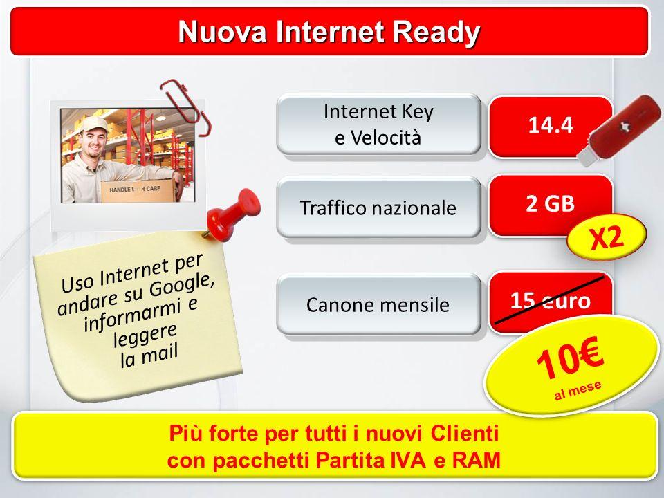 2 GB Traffico nazionale 15 euro Canone mensile 14.4 Internet Key e Velocità Internet Key e Velocità Nuova Internet Ready X2 Uso Internet per andare su Google, informarmi e leggere la mail Più forte per tutti i nuovi Clienti con pacchetti Partita IVA e RAM Più forte per tutti i nuovi Clienti con pacchetti Partita IVA e RAM 10 al mese 10 al mese