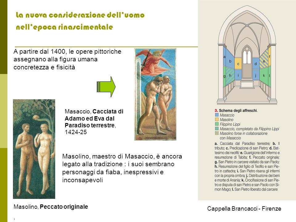 La nuova considerazione delluomo nellepoca rinascimentale A partire dal 1400, le opere pittoriche assegnano alla figura umana concretezza e fisicità M