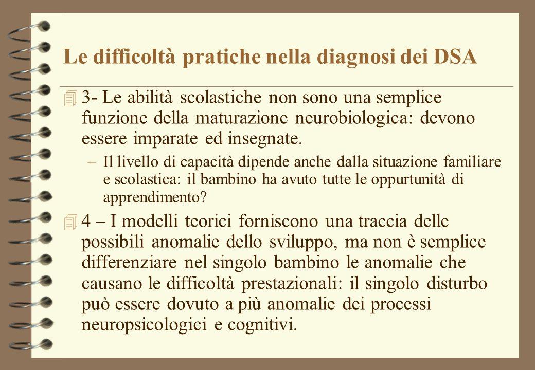 Le difficoltà pratiche nella diagnosi dei DSA 4 3- Le abilità scolastiche non sono una semplice funzione della maturazione neurobiologica: devono essere imparate ed insegnate.