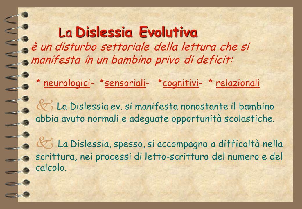 La Dislessia Evolutiva La Dislessia Evolutiva è un disturbo settoriale della lettura che si manifesta in un bambino privo di deficit: * neurologici- *sensoriali- *cognitivi- * relazionali La Dislessia ev.