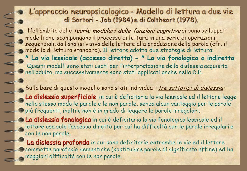 Lapproccio neuropsicologico - Modello di lettura a due vie di Sartori - Job (1984) e di Coltheart (1978).