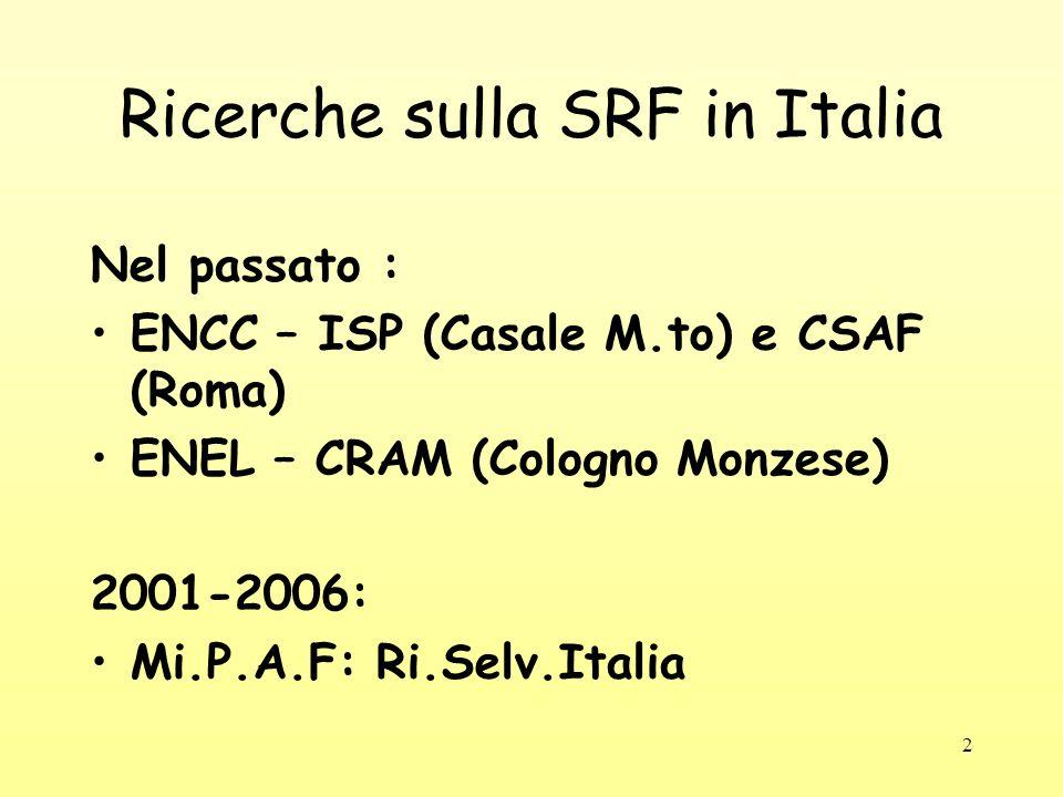 2 Ricerche sulla SRF in Italia Nel passato : ENCC – ISP (Casale M.to) e CSAF (Roma) ENEL – CRAM (Cologno Monzese) 2001-2006: Mi.P.A.F: Ri.Selv.Italia