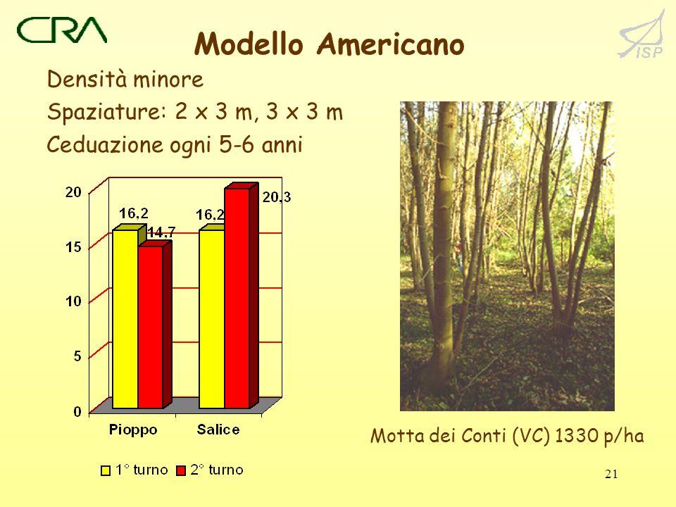 21 Modello Americano Densità minore Spaziature: 2 x 3 m, 3 x 3 m Ceduazione ogni 5-6 anni Motta dei Conti (VC) 1330 p/ha