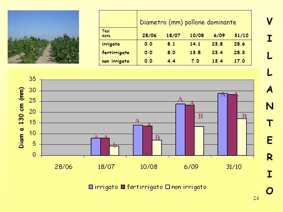 24 Diametro (mm) pollone dominante Tesi data 28/06 18/07 10/08 6/09 31/10 irrigato0.08.114.123.828.6 fertirrigato0.08.013.523.428.3 non irrigato0.04.47.013.417.0 aa b A A B A A B A A B VILLANTERIOVILLANTERIO