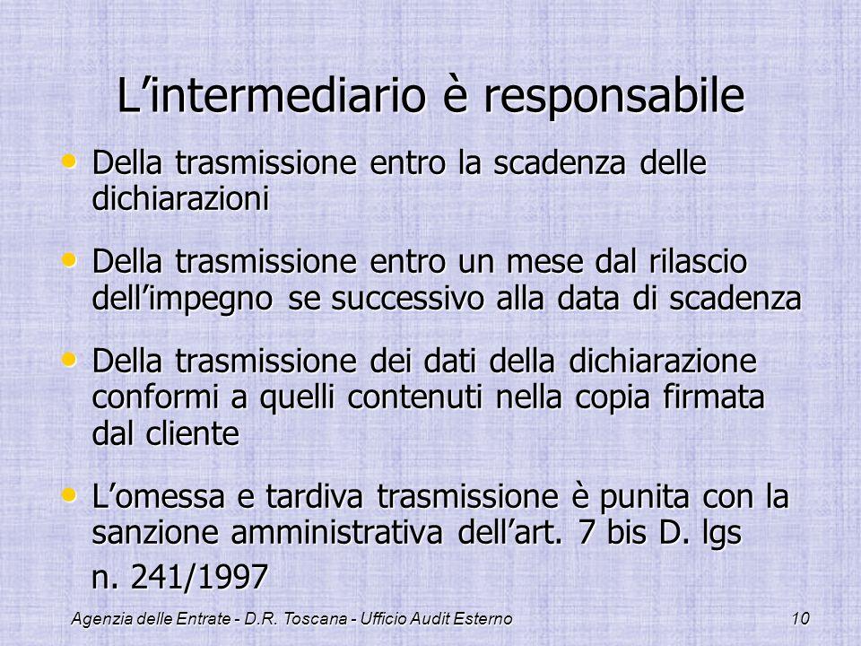 Agenzia delle Entrate - D.R. Toscana - Ufficio Audit Esterno10 Lintermediario è responsabile Della trasmissione entro la scadenza delle dichiarazioni