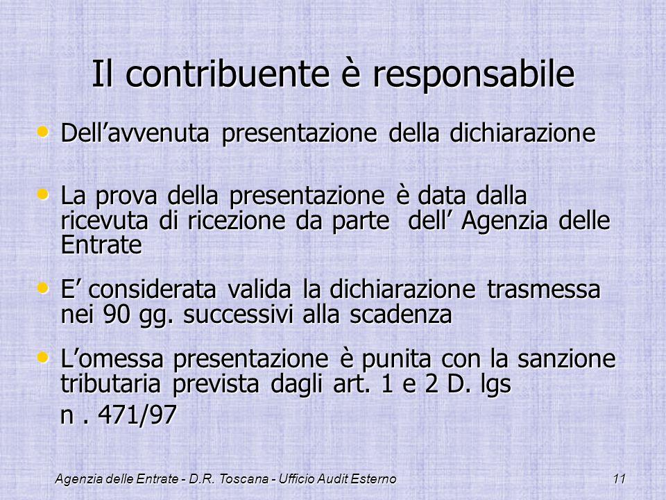 Agenzia delle Entrate - D.R. Toscana - Ufficio Audit Esterno11 Il contribuente è responsabile Dellavvenuta presentazione della dichiarazione Dellavven