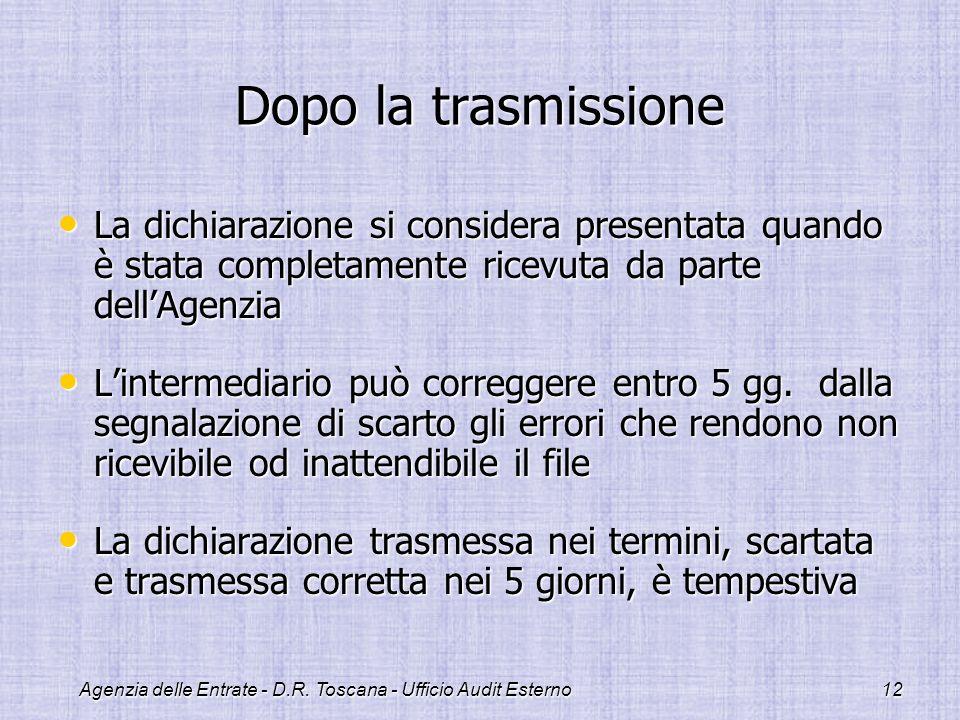 Agenzia delle Entrate - D.R. Toscana - Ufficio Audit Esterno12 Dopo la trasmissione La dichiarazione si considera presentata quando è stata completame