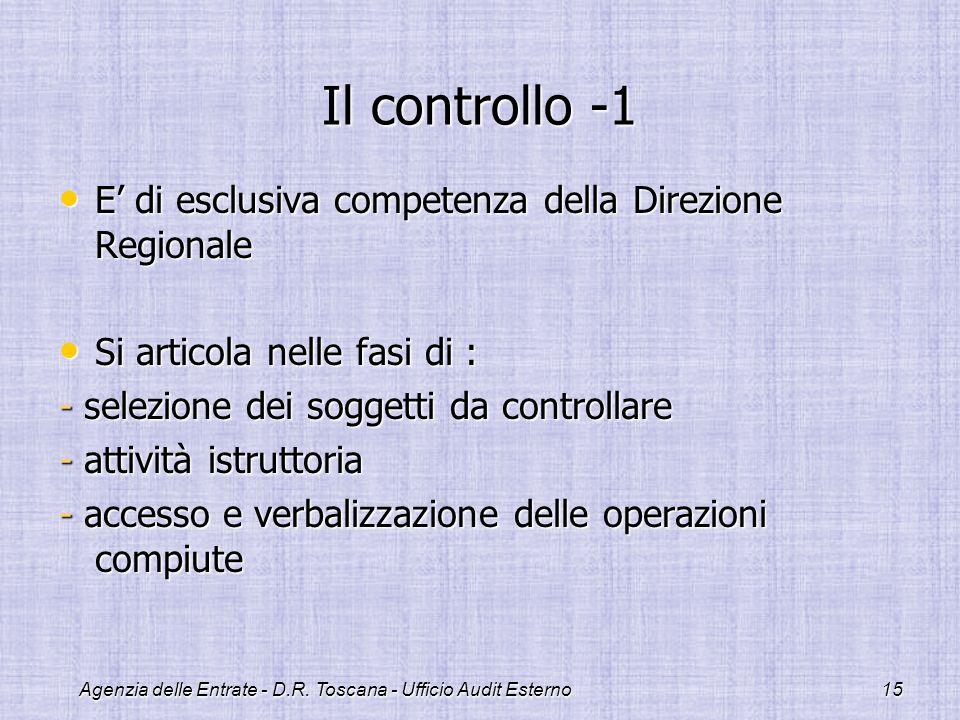 Agenzia delle Entrate - D.R. Toscana - Ufficio Audit Esterno15 Il controllo -1 E di esclusiva competenza della Direzione Regionale E di esclusiva comp