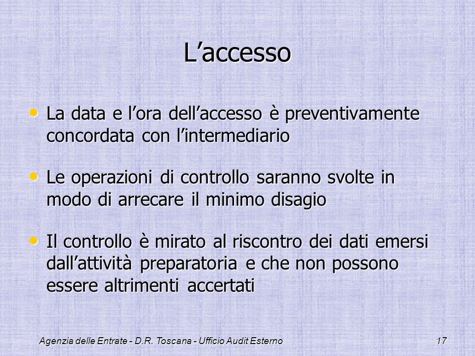Agenzia delle Entrate - D.R. Toscana - Ufficio Audit Esterno17 Laccesso La data e lora dellaccesso è preventivamente concordata con lintermediario La